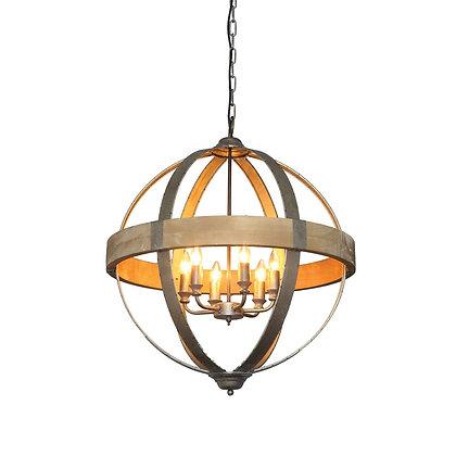 Round Metal & Wood Pendant Light - CC