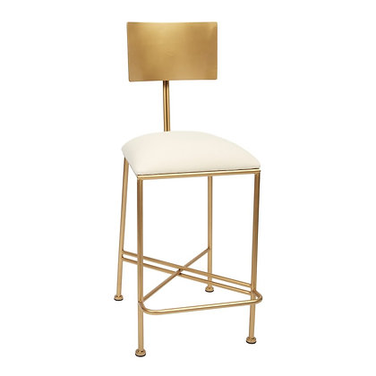 MCADAMS GOLD COUNTER HEIGHT BARSTOOL WITH METAL BACK AND LIGHT LINEN CUSHION - O