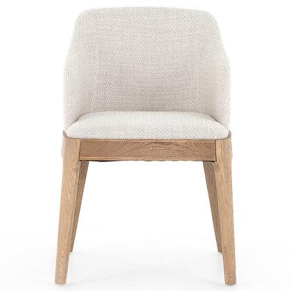Jose Mid Century Cream Performance Brown Oak Wood Dining Arm Chair - KK