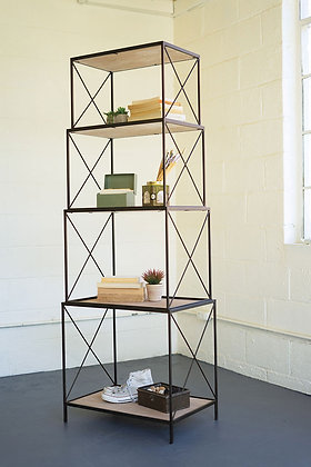 Stackable Four Tiered Metal & Wood Shelving Unit - KAL