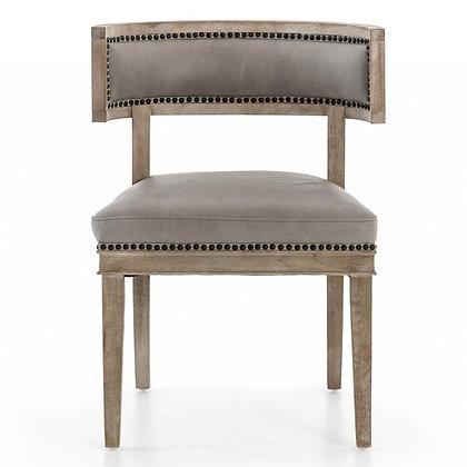 Livingston Modern Classic Curved Back Light Grey Leather Dining Chair - KK