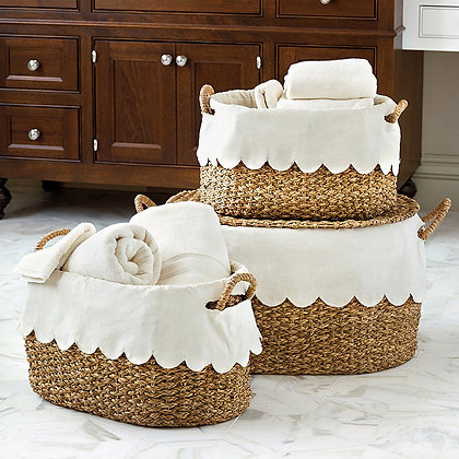 Bunny Williams Nesting Baskets with Scalloped Liner - Set of 3 - BD