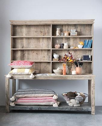 Reclaimed 2-Piece Wood & Metal Hutch  - CC