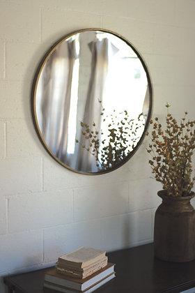 Round Antique Brass Metal Framed Mirror - KAL
