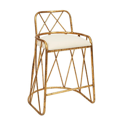 """AGED GOLD PATSY COUNTER HEIGHT BARSTOOL WITH LIGHT LINEN CUSHION, 26.5"""" SEAT HEI"""