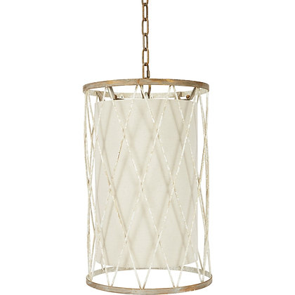 OPEN WEAVE FRENCH WHITE & GOLD PENDANT - OWD