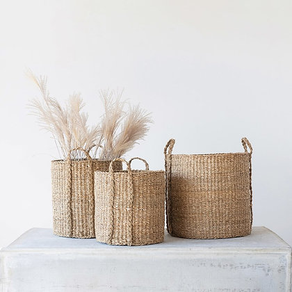 Hand-Woven Seagrass Baskets w/ Handles, Set of 3  - CC