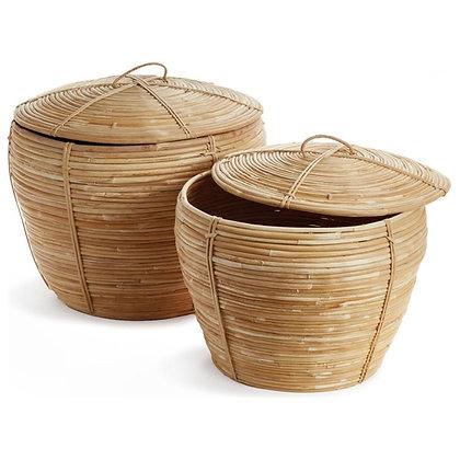 Calle Coastal Beach Brown Woven Rattan Cobra Baskets - Set of 2 - KK