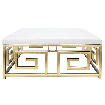 Aira Modern Linen Upholstered Gold Metal Greek Key Patterned Ottoman - KK