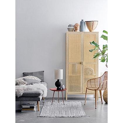 Woven Rattan & Wood Cabinet w/ 2 Doors, 3 Shelves & Rod - CC