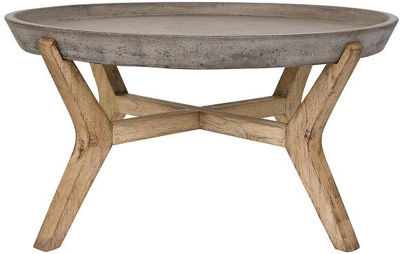 Wynn Indoor Outdoor Modern Concrete Round 18.1- Inch H Coffee Table - SAF