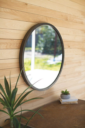 Round Mirror With Natural Metal Frame - KAL