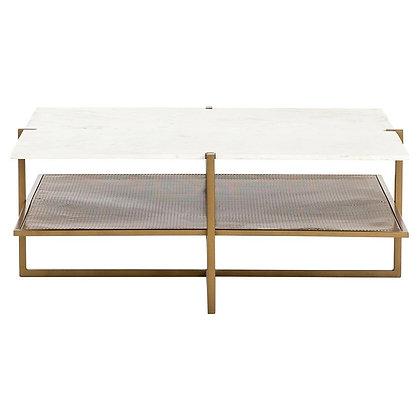 Maribelle Modern Classic Square White Marble Top Gold Shelve Coffee Table - KK
