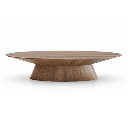 Modloft Sullivan Modern Classic Walnut Brown Wood Oval Coffee Table - KK
