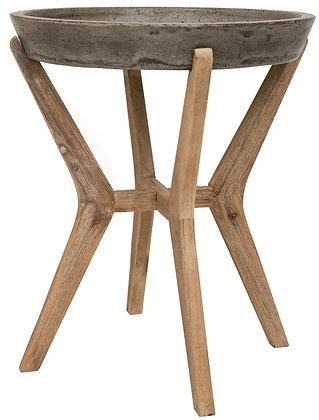 Celeste Indoor - Outdoor Modern Concrete Round 21.2-inch H End Table - SAF
