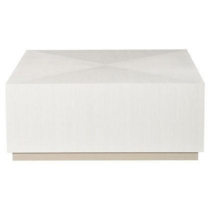 Lucille Modern Classic White Grey Wood Plinth Square Block Coffee Table - KK