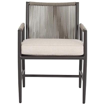 Sunset West Pietra Mid Century Ash Cushion Aluminum Outdoor Dining Arm Chair - K