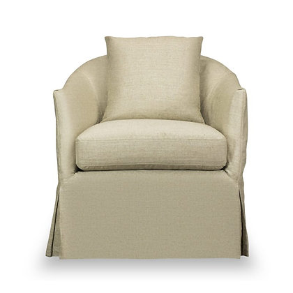 AMY SLIPCOVERED SWIVEL CHAIR/WINDFIELD NATURAL