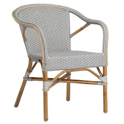 Clara Coastal Beach White and Light Brown Dotted Woven Rattan Outdoor Arm Chair