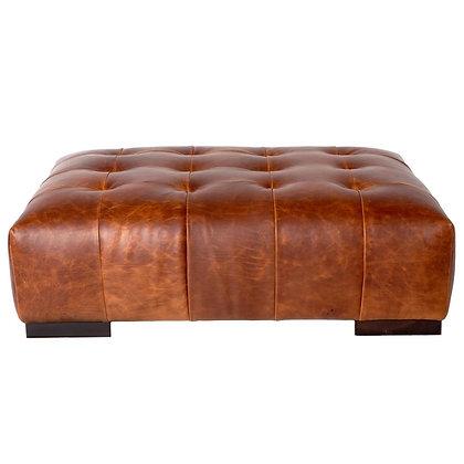 Cisco Brothers Arden Modern Classic Brown Leather Tufted Rectangular Ottoman- KK