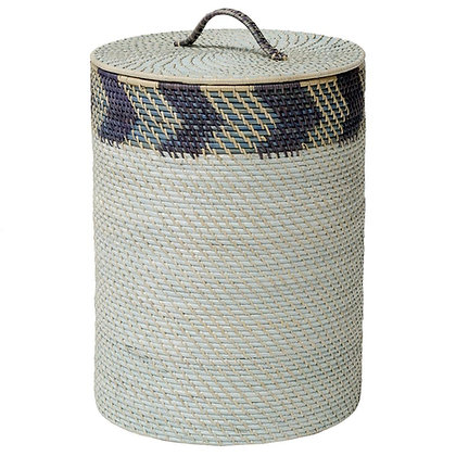 Palecek Chevron Hamper Coastal Global Blue Grey Chevron Rattan Storage Basket -