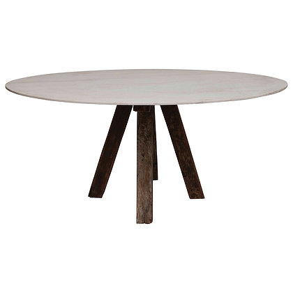 Oval Marble Table w/ Reclaimed Wood Legs - CC