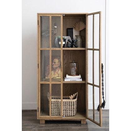 Oak Cabinet w/ 2 Glass Doors & 2 Shelves - CC