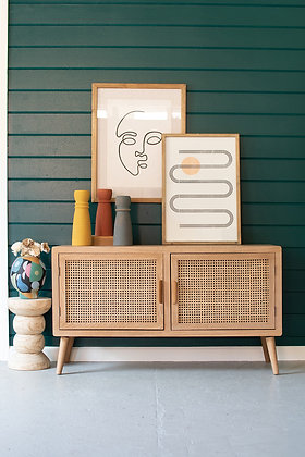Wood Tv Cabinet With Woven Cane Doors  - KAL