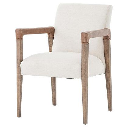 Jolie Modern French Country White Linen Leather Oak Dining Arm Chair - KK