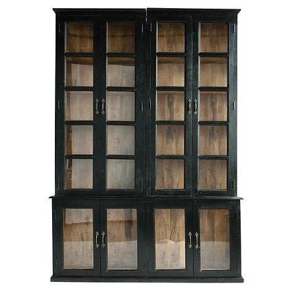 Wood & Glass 2-Piece Cabinet w/ Doors & 8 Shelves   - CC