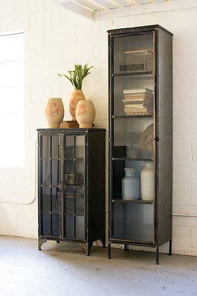 Tall Iron And Glass Apothecary Cabinet  - KAL