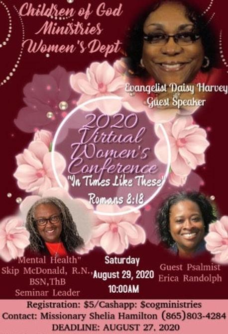 2020 Virtual Women's Conference August 29, registration deadline August 27