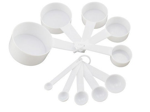 9 Piece Set Measuring Spoons and Cups - Plastic