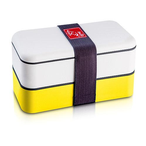 【食福】頂級PLA無毒雙層分隔便當盒 附餐具(黃色)