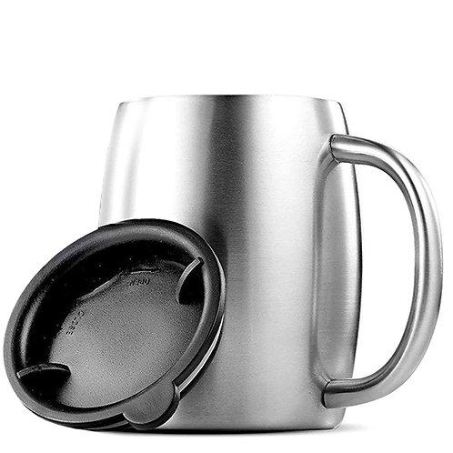 不鏽鋼帶蓋保溫咖啡杯 450mL 泡茶杯 保溫杯