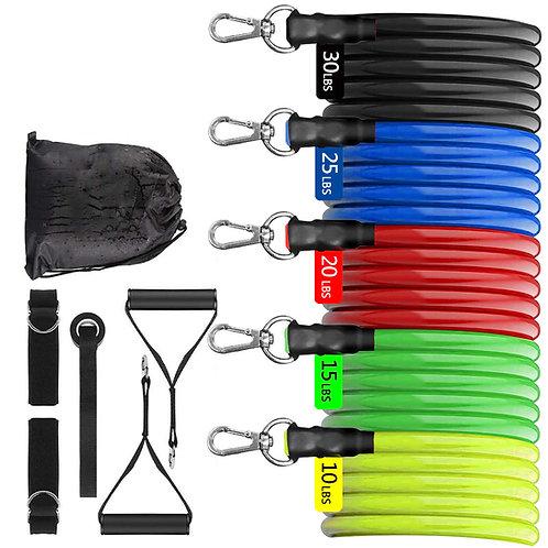 健身拉力繩 11件入 彈力帶 彈力繩 阻力帶 拉力繩