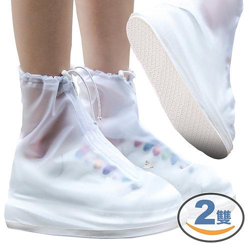 女款防滑加厚底防水雨鞋套 2雙入