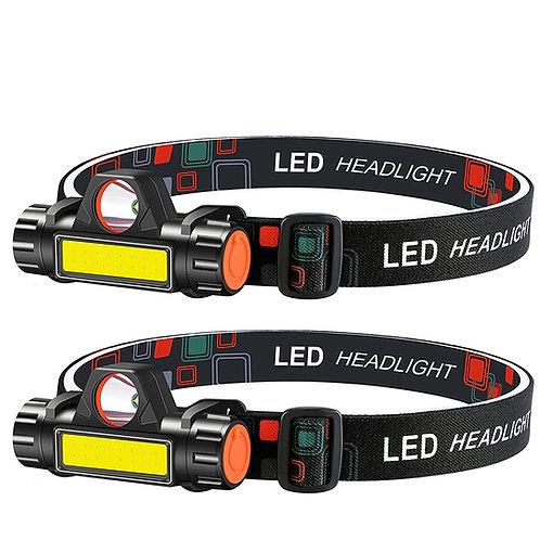雙光源LED頭燈 USB充電 2入組 露營燈 釣魚燈