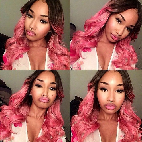 Pink Bubble Gum Ombre Wig