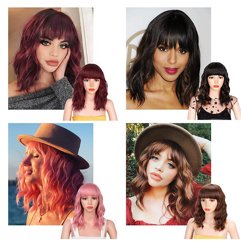 14inches Natural Wave Wig Red Wig With Bangs Synthetic