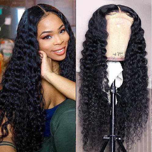 Deep Wave Closure Wig Human Hair Lace Frontal Wigs 180% density