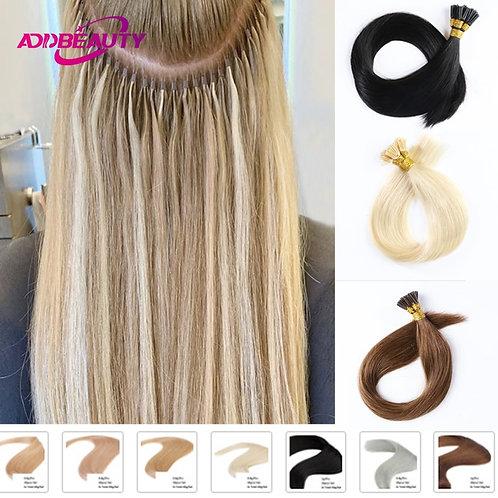Straight I Tip Hair Extensions 1g/Pcs 0.8g/Pcs 50pcs/Set Keratin Capsules