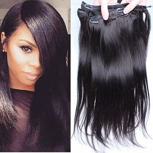 Brazilian Straight Clip In Hair Extensions