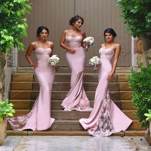Pink Lace Floor Length Mermaid Bridesmaid Dresses