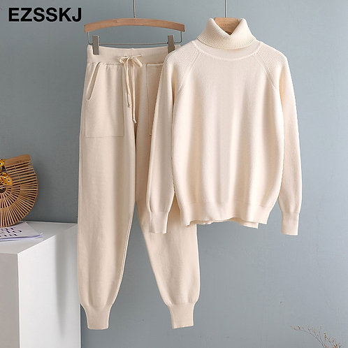 2 Pieces Set Women Knitted Tracksuit Turtleneck Sweater + Carrot Jogging Pants