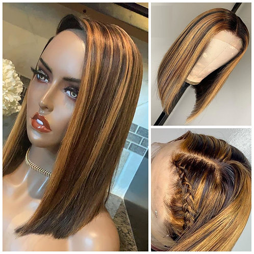 Short Highlight Wig Ombre Brown