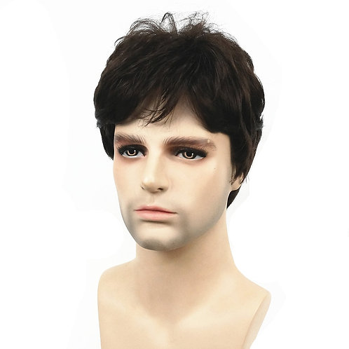 Wig Dark Brown Natural Short Straight Hair