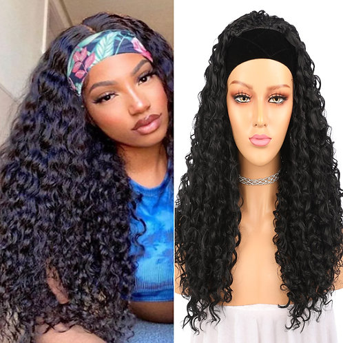 Afro Kinky Curly Hair Headband Wig Gluless Heat Resistant Synthetic