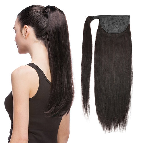 Ponytail Human Hair Machine Remy Straight