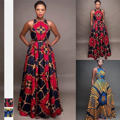 African Clothes Round Neck Dashiki Maxi Dress Sleeveless Plus Size